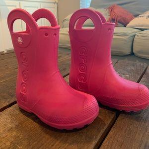 Crocs pink kids boots - 11